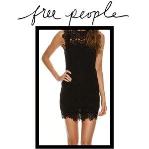 NWT Free People Black Lace Open Back Mini Dress